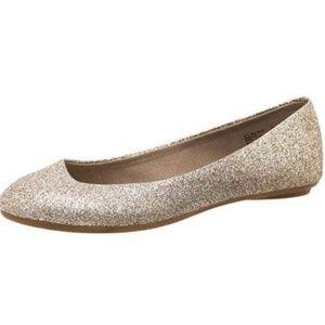AE Gold Glitter Round  Almond toe ballet flats